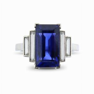 Sapphire and Baguette Cut Diamond Ring 4.00ct